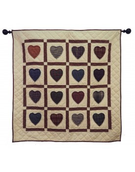 Hearts Multicolor in Off-White Background Quilts