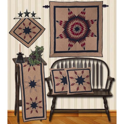 Lone Star Rust / Navy / Off White Tea Dyed Quilts