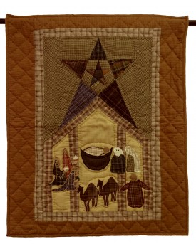 Primitive Star with Nativity Tea Dyed