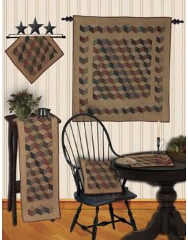 Tumbling Blocks Tea Dyed Quilts