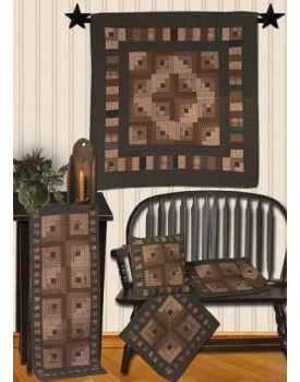 Country Log Cabin Tea Dyed Quilts