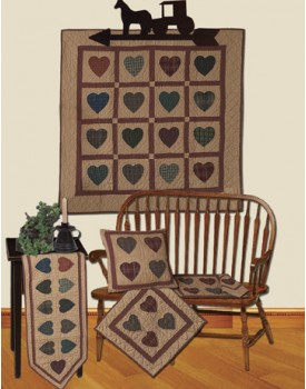 Hearts Multicolor Tea Dyed Quilts