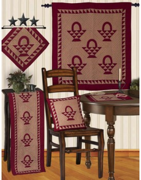 Basket Cran Red / Off White Tea Dyed Quilts