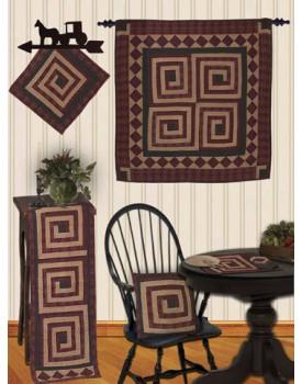 Log Cabin Burgundy Tea Dyed Quilts