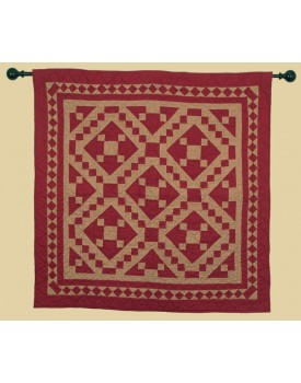 Red Diamond Square Tea Dyed Quilts