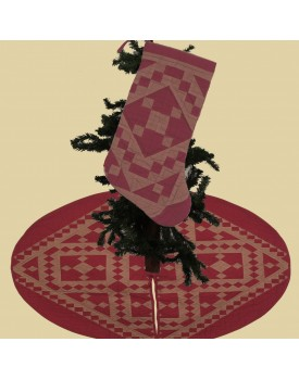 Red Diamond Square Tea Dyed Christmas