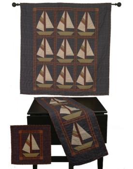 Sailboat Tea Dyed Quilt